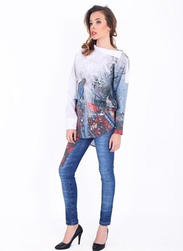 Yaka Detaylı Desenli Gömlek-Soie Design